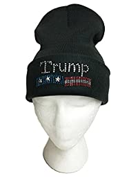 DONALD TRUMP Rhinestone Stud Knit Beanie Watch Hat (BLACK)