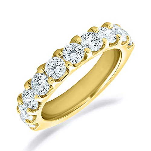 2.0 CTTW Riviera Diamond Wedding Ring, 2CT Milgrain Anniversary Ring in 10K Yelllow Gold-Finger Size 7