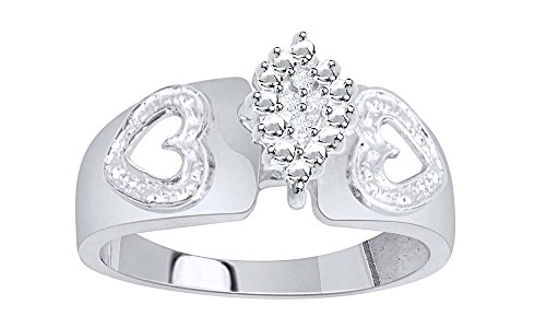 Jewel Zone US White Natural Diamond Accents Cluster Engagement Ring in 14k White Gold Over Sterling Silver (0.05 - Cluster 14k Gold Diamond Ring