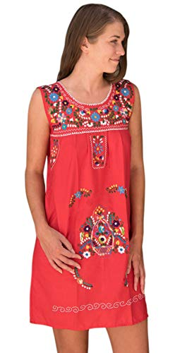 Liliana Cruz Women's Sleeveless Hand Embroidered Mexican Floral Tunic Mini Dress Small to Plus Size (Red, -