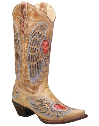 Corral Women's Distressed Peace Heart Inlay Cowgirl Boot ...