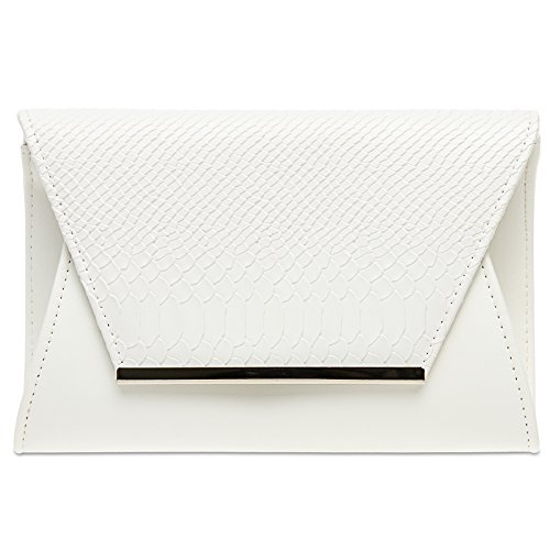 CASPAR TA386 Large Ladies Envelope Clutch/Evening Bag with Faux Croc Print White