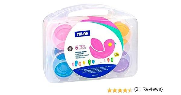 Milan 0353906 - Pack de 6 botes de pintura dedos: Amazon.es: Oficina y papelería