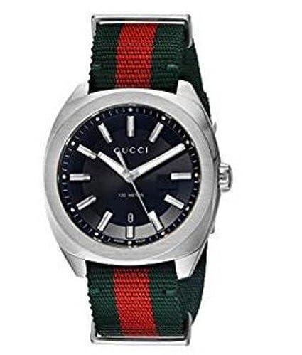 Reloj Gucci Hombre ya142305 al cuarzo (batería) acero quandrante negro correa tela: Amazon.es: Relojes