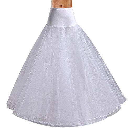 A-line Bridal Wedding Gown Crinoline (Edith qi Women 3/4/6 Hoops Petticoats Mermaid Crinoline Half Slips Underskirt For Bridal Gown)