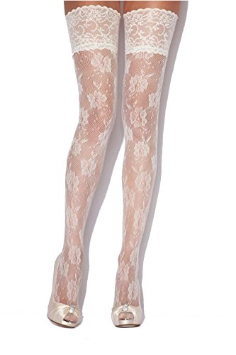 (Charnos Floral Net Lace Hold Ups-Ivory-Small/Medium)