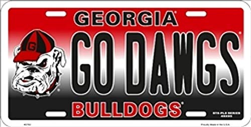 - NCAA University of Georgia Bulldogs GO Dawgs Car License Plate 12' x 6