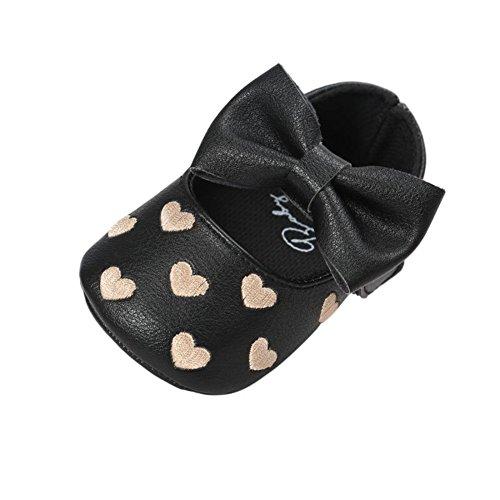 Filles Premiers Cuir 12 Bebe En Pu 6 Noir Bobora Souple 18mois D'amour 0 12 Coeurs Chaussons Pas Pour Garcons 6 Chaussures wFAPqfn0
