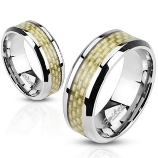 STR-0033 Stainless Steel Gold Carbon Fiber Inlay Band Ring Size 5-14; Comes With Free Gift Box - Carbon Gold Fibre
