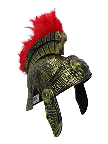 PVC Roman Helmet with Red Feathers Gladiator Costume, Gold, One Size