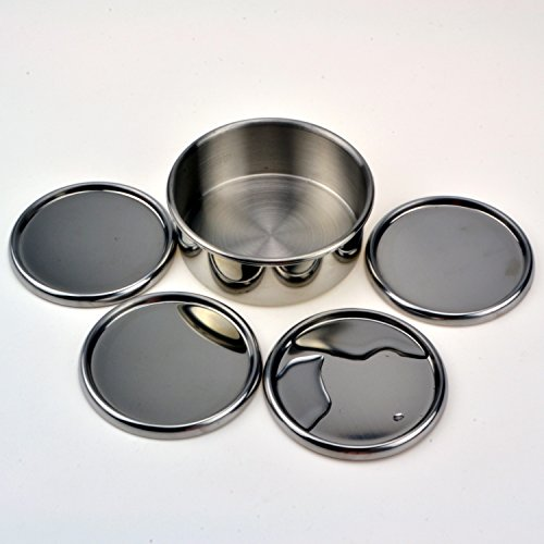 - Star Quality Anti-Overflow Stainless Steel Round Coaster | Prevent Condensation Set of 5 Cup and Bottle Holders with Anti-Scratch Nonslip Bottom | for Barware and Home (Stainless Steel, 3.9 Inch)