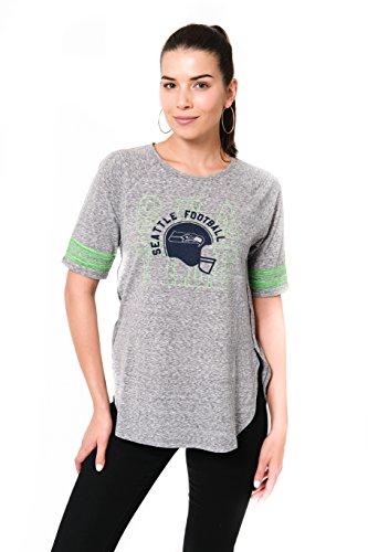 (ICER Brands NFL Seattle Seahawks Women's T-Shirt Vintage Stripe Soft Modal Tee Shirt, Large, Gray)