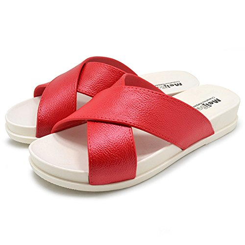 Suela Piscina Slides Polliwoo Sandalias Beach para Sea de Holiday Ducha Zapatos con de Rojo Mujeres Antideslizante SwCd7qd8