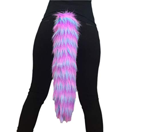 Bianna Creations Pink Purple Blue Faux Fur Animal Cosplay Tail, 20