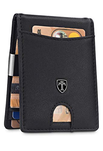 TRAVANDO Slim Wallet with Money Clip SEATTLE RFID Blocking Card Mini Bifold Men (Black)