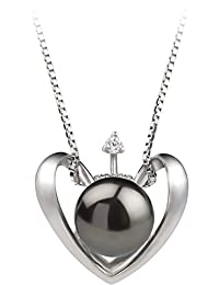 PearlsOnly - Heart 9-10mm Freshwater 925 Sterling Silver Cultured Pearl Pendant