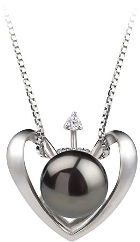 Black Pearl Heart - Heart Black 9-10mm AA Quality Freshwater 925 Sterling Silver Cultured Pearl Pendant