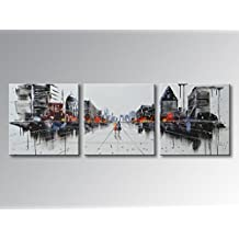 UAC WALL ARTS 100% Hand Painted Modern City Oil Paintings on Canvas Abstract Wall Art Colorful Cityscape Artwork Contemporary Picture Home Office Decoration Framed