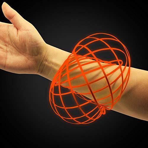 (Digital Energy Glowing Kinetic Educational Spring Toy -Glow in The Dark Multi Sensory Interactive 3D Shaped Flow Ring, (Glow Orange).)