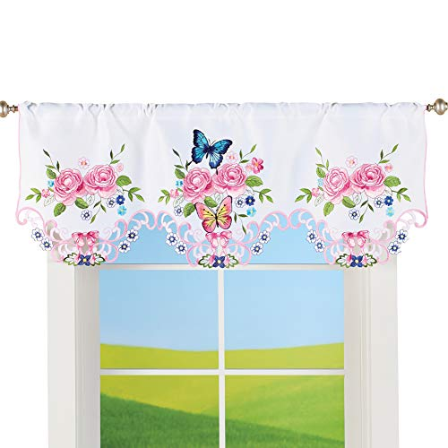 Collections Etc Pink Rose Garden and Butterfly Embroidered Cutout Window Valance - Seasonal Window Accent for Any Room in Home