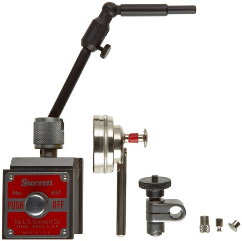 (Starrett 657MCZ Magnetic Base and Post Assembly, With 196MB1 Indicator, PT18718 Snug, 3 Contact Points, Contact Point Adaptor With Finished Wood)