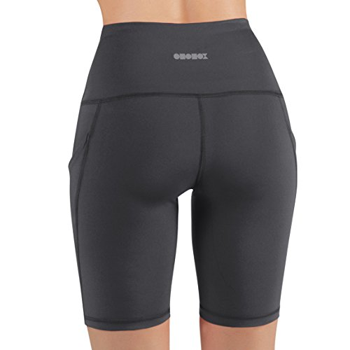ODODOS High Waist Out Pocket Yoga Shots Tummy Control Workout Running 4 Way Stretch Yoga Shots, Gray, X-Large by ODODOS (Image #3)