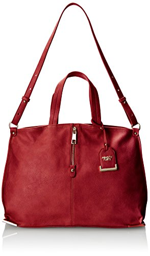 (POVERTY FLATS by rian Tote W/Metal Corners Shoulder Bag, Berry, One Size)