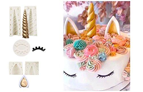 DOYOLLA Unicorn Party Cake Topper Unicorn Horn Ears Eyelash Chocolate Candy Molds Pack of 5