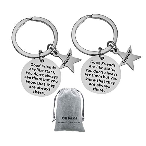 (Best Friend Keychain,Jewelry Gift Good Friends are Like Stars, You Don't Always See Them but You Know That They are Always There for Her,Him,Friends(2 Pack))