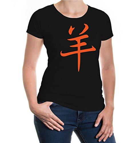 buXsbaum® Girlie T-Shirt Astrological Sign Sheep Black