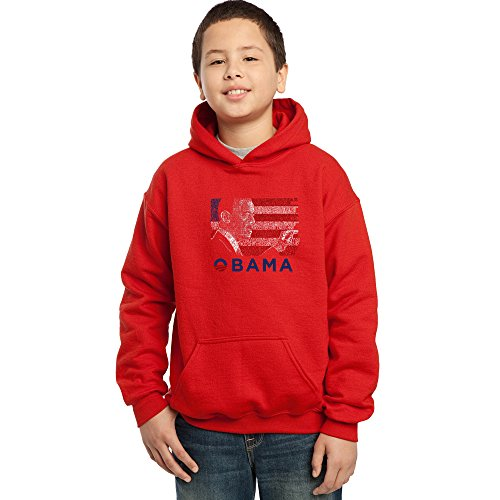 LA POP ART Boy's Word Art Hooded Sweatshirt - Barack Obama - All Lyrics to America The Beautiful Red Barack Obama Hooded Sweatshirt