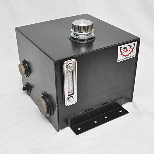 Tool-Tuff 7-Gallon Hydraulic Fluid Reservoir Tank, Horizontal-Mount, w/Temp Gauge, Sight-Gauge & Breather/Strainer Fill Cap