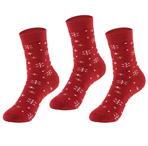 Natural Underwear Womens Socks Red Snow Flake Christmas Gifts Medium Bamboo Thermal Socks Snowboard Ski Cold Weather Comfort Luxury Healthy Crew Socks