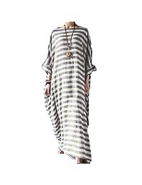 197d12106 Buildhigh - Vestido de algodón y lino de manga larga para mujer