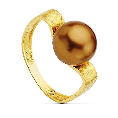 Bague 18k chocolat rayé or centre de perles de 10 mm. [AB2322]