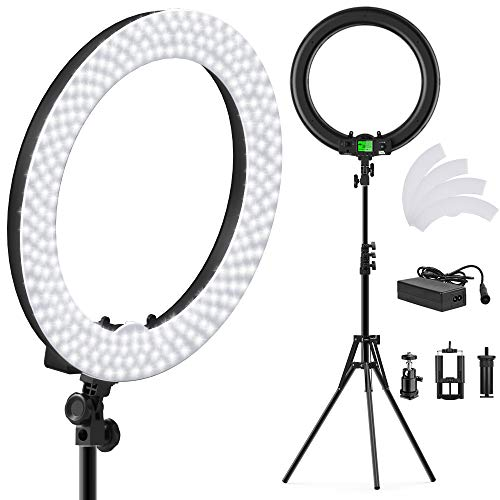 PIXEL 19 Inch Ring Light with Stand, 55W MultiTemp 3000-5800K Dimmable Circle LED Lighting for Selfie Makeup Videos, Built-in 2.4G Receiver w/UL Listed AC Adapter (No Carrying Bag, No Remote Control) by PIXEL (Image #8)