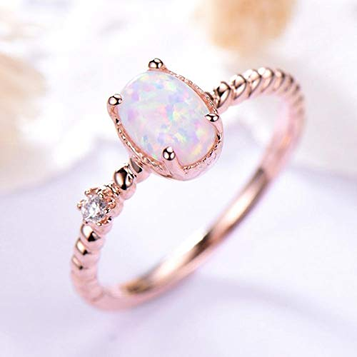 Amazon Com 5x7mm Oval Cut Opal Engagement Ring Solid 14k Rose