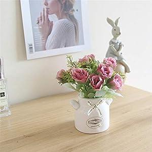 JruF Mini Pink Gouache Pomegranate Rose Milk Bottle Mini Simulation Small Bonsai Set White Ceramic Ornaments Bedroom 73