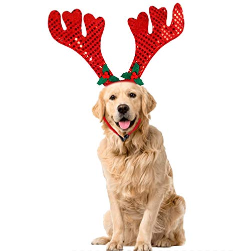 Ollypet Dog Cat Christmas Costume Reindeer Headband Hat for Pet Outfit for Small Dogs Cute Fleece Hat Party Event…