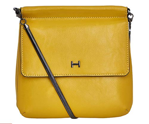 H by Halston Smooth Leather Crossbody Handbag with Snake Chain (Yellow) from H by Halston