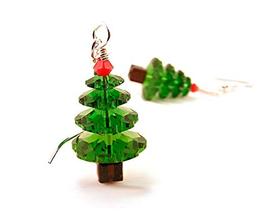 Christmas Tree Earrings made with Crystals from Swarovski and Sterling Silver Ear Wires (Tree Earrings Christmas Dangle Silver)