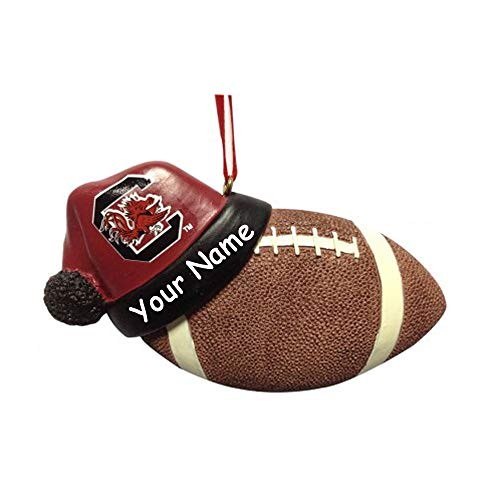 (Personalized South Carolina University Gamecocks Collegiate Football with Santa Claus Stocking Cap Hanging Christmas Ornament with Custom Name)