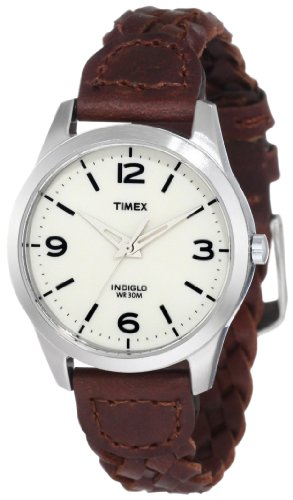 Timex Women's T2N644 Weekender Classic Casual Woven Leather Strap (Braided Womens Watch)