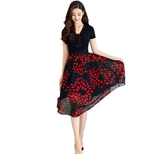 Cotylédons Women`s Une Pièce Robes V-cou Court Manchon Imprimé Rouge Robe