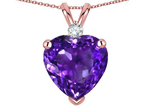 Star K 8mm Genuine Amethyst Heart Pendant Necklace 14k Rose Gold