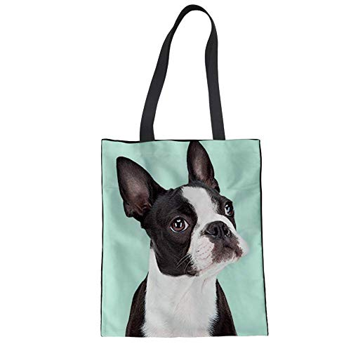 (HUGS IDEA Women's Top Handle Bag Boston Terrier Cute Shoulder Bags Canvas Linen Totes Shopping Travel)