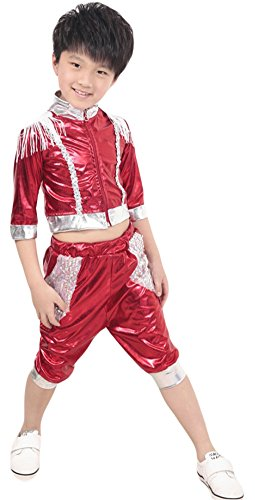 AvaCostume Boys 2-piece set Hip-hop Dance Paillettes Costumes Performing Clothes, Red, 6X