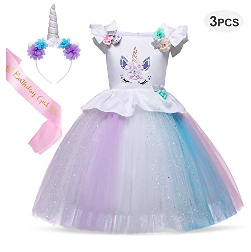 Cotrio Unicorn Costume Dress Girls Princess Tutu Dresses Pageant Party Evening Gowns 3-Pieces Halloween Outfit with Headband and Sash Size 4T (110, 3-4Years, Rainbow White) for $<!--$28.99-->
