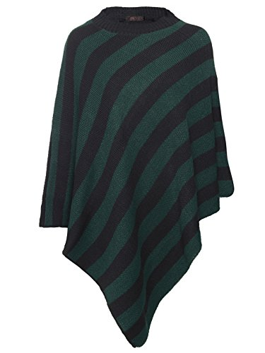 Envy Boutique - Poncho - Manga Larga - para mujer Black / Bottle Green Stripe