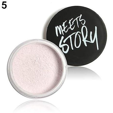 Clifcragrocl de polvos sueltos, maquillaje para mujeres Polvos faciales sueltos con una base de acabado de perfeccionamiento mineral - 5: Amazon.es: Belleza
